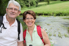 Closeup of senior couple on a rambling day Royalty Free Stock Photos