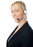 Closeup of a senior telemarker woman Stock Images
