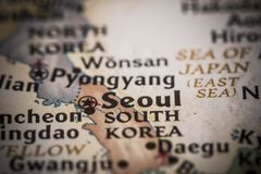 Seoul on map Royalty Free Stock Photo