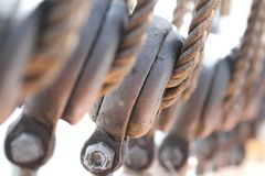 Closeup of a serie of big halyards stock photo