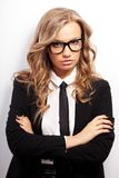 Closeup seriously businesswoman portrait Stock Photography