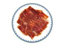 Closeup of serrano ham slices. Jabugo. Spanish Royalty Free Stock Image