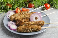 Closeup of served plate with kebab on wooden skewers,sliced onion,tomatoes,dill,cilantro on grey table stock photo