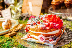 Closeup on set of cake with berry Royalty Free Stock Image