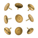 Closeup set of metal pushpins isolated on white background Royalty Free Stock Photography