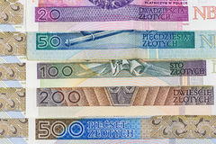 Closeup of set of polish zloty banknotes stock image