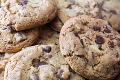 Closeup Of Several Biscuits With White, Bittersweet And Milk Chocolate Chips. Close Up Of Several Biscuits With White, Bittersweet And Milk Chocolate Chips royalty free stock photography