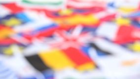 Closeup on several country flags stock footage