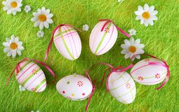 Closeup of several Easter eggs royalty free stock photos