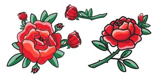 Closeup of Red Rose on Poster Vector Illustration. Closeup of several red roses, flourishing ones and flower with bud ready to impress everybody with its beauty Royalty Free Stock Photography