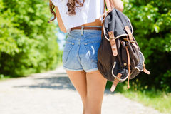 Closeup on sexi female butts in jeans shorts with Royalty Free Stock Image