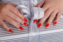 Closeup of a sexy red nails Royalty Free Stock Photos