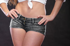 Closeup of sexy woman girl hips and belly. Stock Photography