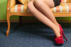 Closeup of sexy woman legs wearing high heels. Stock Photography