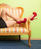 Closeup of sexy woman legs wearing high heels. Stock Image