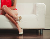 Closeup of sexy woman legs wearing high heels. Stock Photos