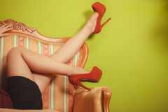 Closeup of sexy woman legs wearing high heels. Stock Photo