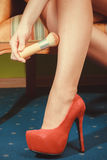 Closeup of sexy woman legs wearing high heels. Royalty Free Stock Images