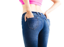 Closeup  sexy woman wearing jeans Stock Image