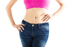 Closeup  sexy woman wearing jeans Stock Photography