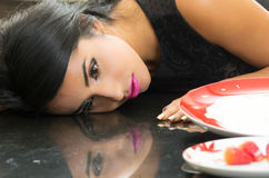 Closeup of sexy young girl's reflection Stock Photography