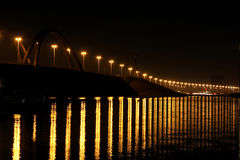 Closeup of Shaikh Khalifa Bridge & reflection Royalty Free Stock Photography