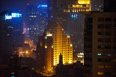 Closeup of Shanghai Huangpu district at night Royalty Free Stock Photo