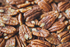 Closeup on shelled pecan nuts royalty free stock photography