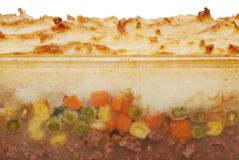 Closeup shepards pie in glass dish Stock Photography