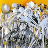 Closeup of shiny spoon, jaws Royalty Free Stock Photos