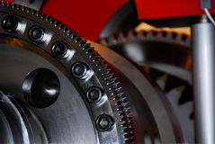 Gear-Wheel toothed gear-pinion closeup perspective stock photos