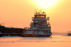 Closeup ship in frozen river Royalty Free Stock Photography