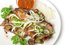 Closeup of shish kebab Stock Images