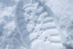 Closeup of shoe print in snow, overhead view. Closeup of shoe print in snow, top view Stock Image