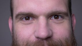 Closeup shoot of adult handsome muscular caucasian male face with eyes looking at camera with smiling facial expression. With background isolated on gray stock video