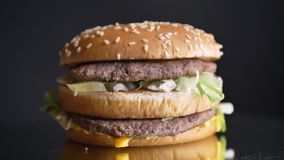 Closeup shoot of appetizing double cheeseburger with two juicy patties and the condiments.  stock video