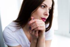 Beautiful stylish woman wearing jewelry. Closeup shoot of beautiful stylish woman wearing a set of jewelry stock photo
