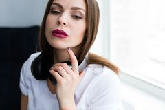 Beautiful stylish woman wearing jewelry. Closeup shoot of beautiful stylish woman wearing a set of jewelry stock photography