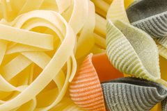 Closeup shoot of different types of pasta Royalty Free Stock Photos