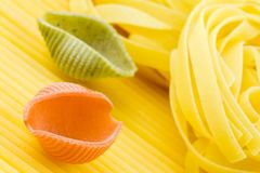 Closeup shoot of different types of pasta Royalty Free Stock Images