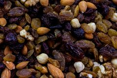 Mix of several kinds of nuts. Closeup shoot of the several kinds of the nuts Royalty Free Stock Images
