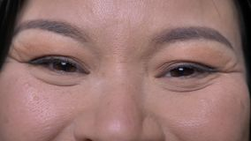 Closeup shoot of young attractive asian female face with eyes looking straight at camera with smiling facial expression. With background isolated on green stock video footage