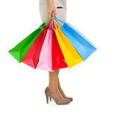 Closeup on shopping bags in woman hand Stock Photography