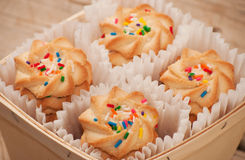 Closeup of shortbread cookies with colorful nonpareil sprinkles Stock Image