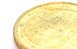 Closeup shot of 10 Euro cent coil Royalty Free Stock Photography