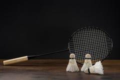 Badminton racket and shuttlecocks Royalty Free Stock Photography