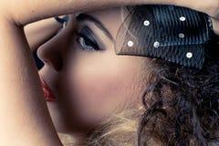 Closeup shot of a beautiful caucasian woman Stock Photos