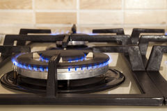 Closeup shot of blue fire from domestic kitchen stove. Gas cooke Stock Photos