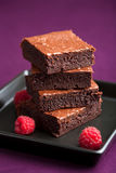 Brownies with raspberry Stock Photography