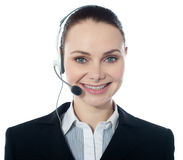 Closeup shot of call center female executive Stock Photo
